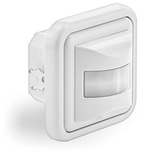 deleyCON 1x Infrarossi Rilevatore di Movimento Incassato Montaggio a Parete Interiore Controllo Della Luce 160° Area di Lavoro Portata 9m Sensore di Luce Integrato Bianco