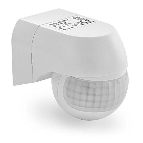 deleyCON 1x Infrarossi Rilevatore di Movimento per Prese Interne Controllo della Luce 120° Area di Lavoro Portata 9m Sensore di Luce Integrato Sensibilità Regolabile Bianco