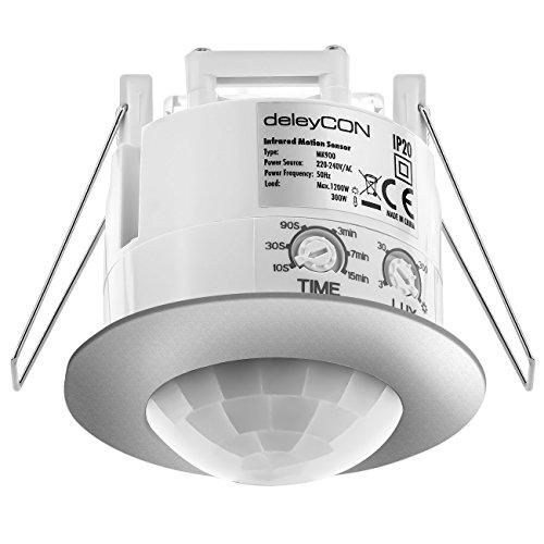 deleyCON Infrarossi Rilevatore di Movimento a Soffitto all'Interno - Portata 6m a 360° Luminosità Ambientale Regolabile IP20 da Incasso Cromo