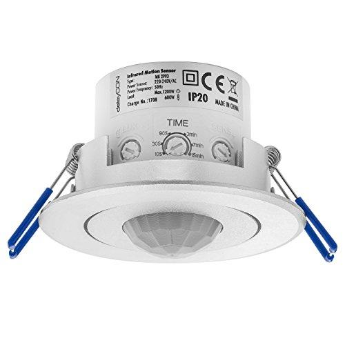 deleyCON Infrarossi Rilevatore di Movimento a Soffitto all'Interno - Portata 8m a 360° Luminosità Ambientale Regolabile IP20 da Incasso Alluminio