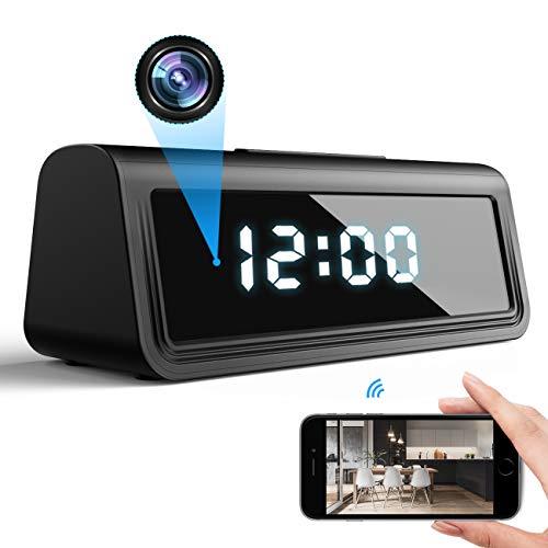 DEXILIO Telecamera spia con orologio 4K WiFi, piccola telecamera nascosta wireless con visione notturna e rilevamento del movimento, telecamera di sorveglianza di sicurezza nascosta per casa e ufficio