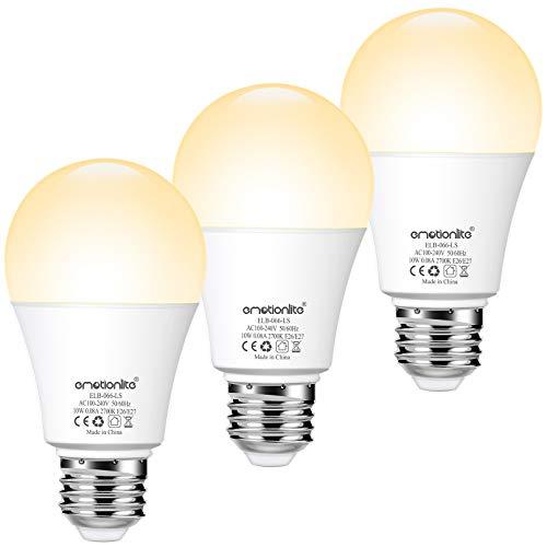 E27 Lampadina a LED con sensore di luce,10W(equivalente 80W),E27 lampadina con sensore crepuscolare, A60,810lumen,2700K,luce bianca calda, confezione da 3
