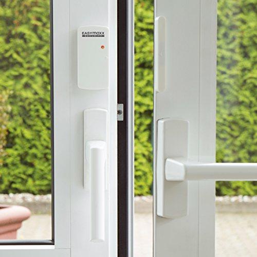 EASYmaxx 02481 Sistema di Allarme di Sicurezza per Porte e finestre, sensore Magnetico, 110 Db, Fori, Senza Fili, Telecomando Incluso, Bianco