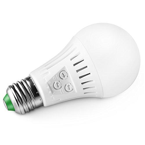Elrigs Lampadia LED con sensore di movimento e sensore crepuscolare, E27, 7W equivalente a 60 W, sensibilità di movimento, impostazione tempo e crepuscolo regolabile, bianca calda (3000 Kelvin)