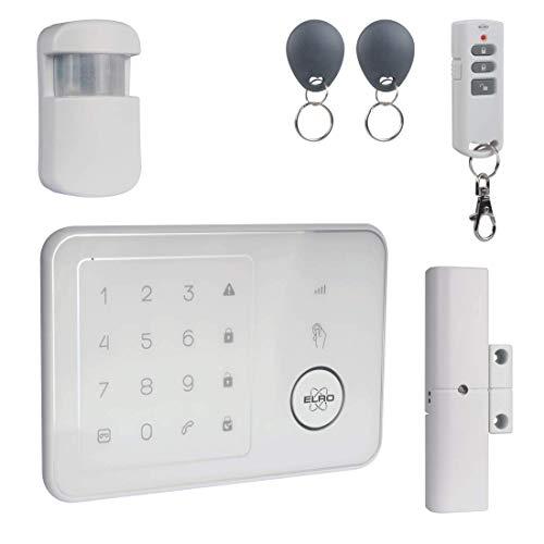 ELRO AG4000 Senza Fili per la casa con modulo gsm e App-Sistema di Allarme Completo di centralina, rilevatore di Movimento, Conta