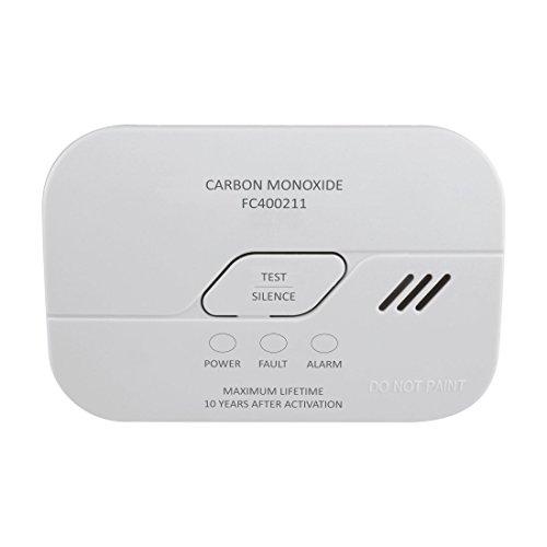 Elro Fc400211 Fc4002 Rilevatore di Monossido di Carbonio-Sensore 10 Anni-Secondo En50291-Con Pulsante di Prova e Batteria Indicatore di Avvertimento, Bianco