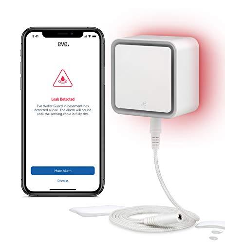 Eve Water Guard - Rilevatore intelligente di perdite d'acqua, cavo rilevatore di 2 m (estensibile), sirena da 100 dB, allarme di perdite d'acqua su iPhone, iPad, Apple Watch (Apple HomeKit)