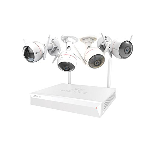 EZVIZ ezwireless Kit, 1 Nvr Vault Live e 4 Husky Air Camera, Wi-fi da 2.4ghz,1080p Camera Wi-fi con Visione Notturna, Doppie Antenne Wi-fi, Audio Bidirezionale,ip66