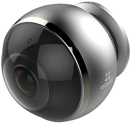 EZVIZ Mini Pano Telecamera di Sicurezza, 3 MP Panoramica Fisheye, 2.4 e 5 Ghz WiFi, Videocamera di Sorveglianza Audio Bidirezionale, Baby Monitor, Visione Notturna, Servizio di Cloud Disponibile