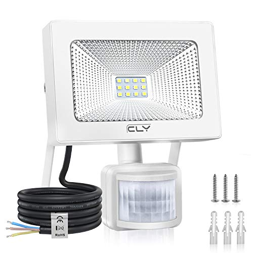 Faretto con Sensore di Movimento CLY 10W, Faro LED Esterno con Sensore Impermeabile IP66, Faro LED Esterno con Sensore, 1000LM 6500K, Faretti LED per Giardino, Corridoio, Terrazza, Patio