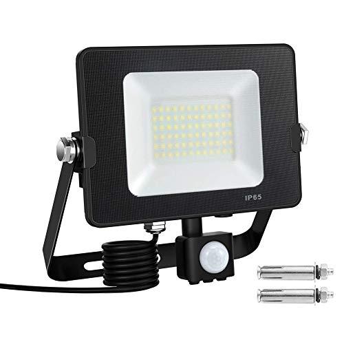 Faretto con Sensore di Movimento,Kanavi 50W 72LED 5000LM 6000K Faretto LED da Esterno con PIR Sensore di Movimento,IP65 Impermeabile LED Esterno,Luce del Giardino Lampada a Risparmio Energetico