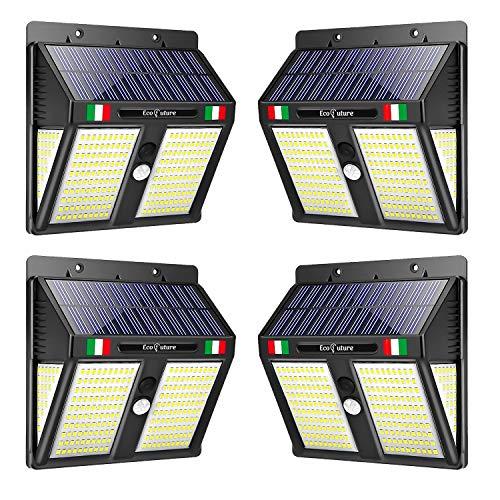 【GARANZIA A VITA】Luce Solare LED Esterno, EcoFuture 250 LED, Lampada Solare Da Esterno, Luce Solare Da Esterno Con Sensore Di Movimento, 270° Di Illuminazione, Impermeabile IP65 (4 Pezzi)