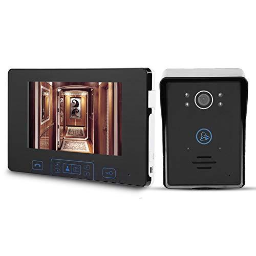 Garsent Spioncino Digitale, Monitor da 7 Pollici Videocitofono Senza Fili, con Impermeabile Visore Notturno, Pulsante a sfioramento Videocitofono Intelligente, Campanello Sistema per casa.(100-240v)