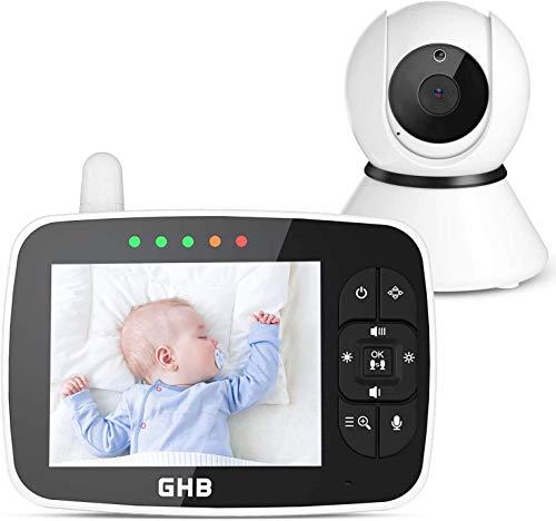 GHB Baby Monitor 720P 3.5' Videocamera Babyphone con IPS Schermo, Oscillazione 115°/355°, 12 Ore, Audio Bidirezionale/Visione Notturna a Infrarossi, con Sensore di Temperatura, Zoom con un Tasto