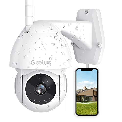 Goowls Telecamera WiFi Esterno, 1080P Telecamera Esterno con grandangolo di 355°/Super Night Vision/Allarme App/Motion tracking/IP65 Impermeabile/Audio Bidirezionale con Alexa