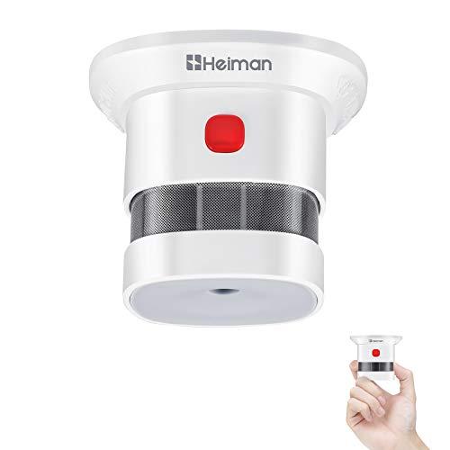 HEIMAN Sensore Fumo Mini Rilevatore di Fumo da 10 Anni Allarme Fumo con Sensore Fotoelettrico Indipendente EN14604 con certificazione CE (1 pezzi)
