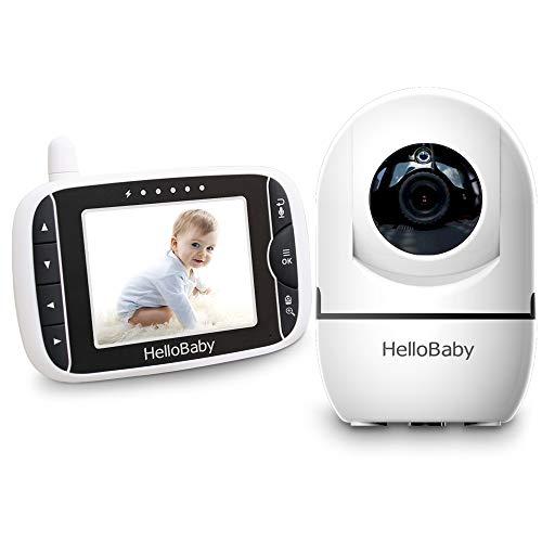 HelloBaby Video Baby Monitor con Telecamera Remota Pan-Tilt-Zoom Schermo LCD a Colori da 3,2 Pollici Infrarossi Night Vision Monitoraggio Della Temperatura HB65 (Nero/bianco)