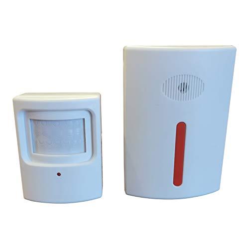 Impianto di allarme a infrarossi con rilevatore di movimento e sirena.