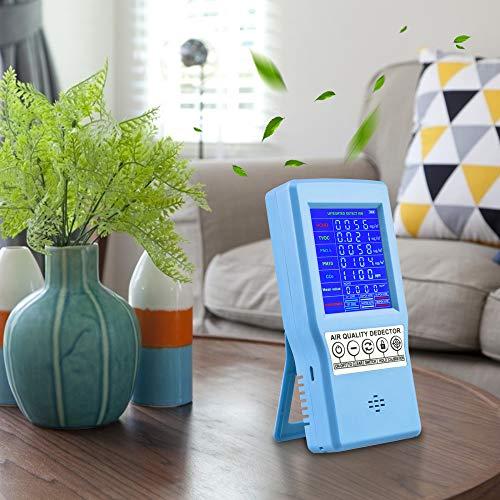 InLoveArts Rilevatore di qualità dell'aria, Tester preciso per CO2 PM2.5 PM10 HCHO Rilevatore TVOC Rilevatore di gas d'aria multifunzione con display LCD colorato, adatto per l'ufficio domestico