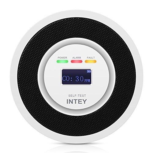 INTEY Rilevatore di Monossido di Carbonio - USB Ricaricabile, Display LCD