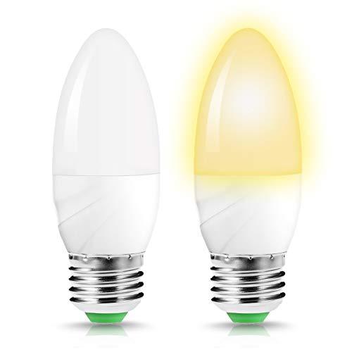 Jandcase sensore di luce 60W equivalente a lampadina a candela, portico alba-tramonto notte lampadine, 6W, colore: Bianco caldo 3000K, 550LM auto ON/OFF E27Lampadina a LED, confezione da 2