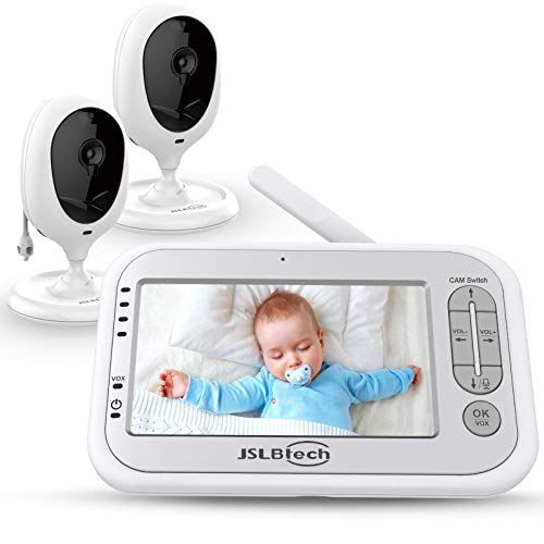 """JSLBtech Baby Monitor Videocamera con Schermo LCD da 4,3"""", Funzione Interfono, Visione Notturna Automatica, Monitoraggio della Temperatura, Risparmio Energetico/Vox (due telecamere)"""