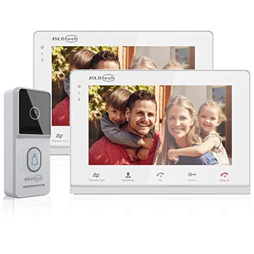 JSLBTech Videocitofono Campanello,4-Fili 2x7'' Monitor Cablata Video Citofoni Versione Notturna Infrarossi,Doppia Suoneria, Supporto Sblocco Remoto, Monitoraggio, Registrazione/Istantanea(Non WiFi)