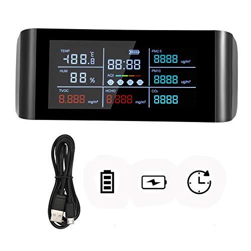 Kacsoo Monitor della qualità dell'aria, sensore di qualità dell'aria con display digitale a schermo LED da 5,5 pollici per CO2, PM2.5 /PM10,HCHO,TVOC,AQI, rilevatore di temperatura e umidità dell'aria