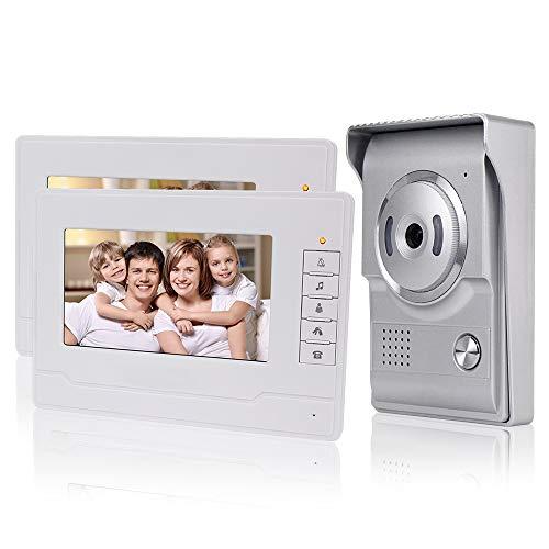 KDL Nuovo Design Videocitofono interno casa Smart Home Video Citofono 7inch Video citofono campanello Telefono, Impermeabile Telecamera esterna con monitor da 7 pollici per Villa (2 Monitor)
