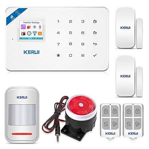 KERUI W18 - Allarme domestico senza fili WiFi e GSM con sicurezza Siren Sistema di allarme domestico senza fili Android iOS APP Control con allarme porta e finestra