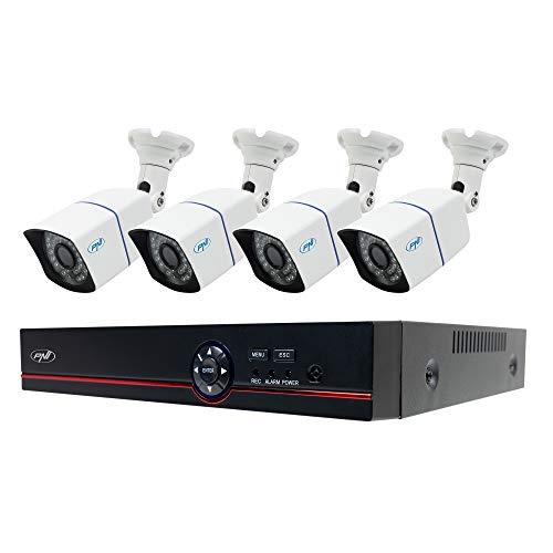 Kit di videosorveglianza AHD PNI House PTZ1500 5 MP - DVR e 4 telecamere di sorveglianza esterna, H.265, riconoscimento viso, rilevamento umano