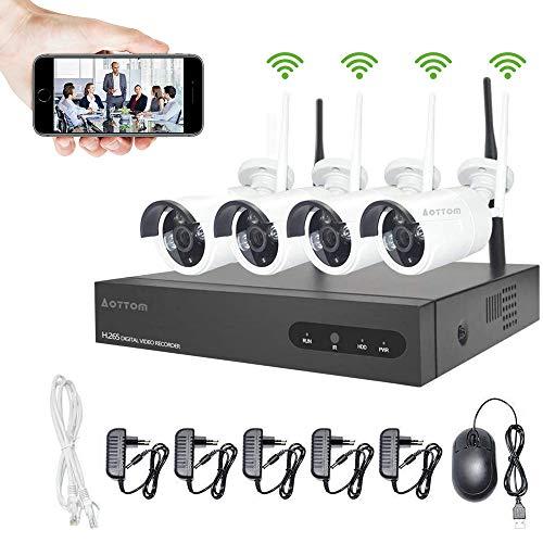 Kit Videosorveglianza WiFi Aottom Kit Telecamere di Sorveglianza WiFi, 8ch NVR + 4pcs 720P Telecamere, Sistema Videosorveglianza WiFi, Visione Notturna, Motion Detection, Allarme E-mail, P2P, No HDD