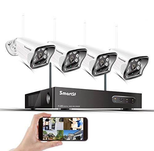 Kit WiFi Kit di telecamere di sicurezza 8CH 1080P NVR H.265 8CH NVR e 4 1080P Telecamera IP proiettile resistente alle intemperie, IR Night Vision, Accesso remoto gratuito e rilevamento del movimento