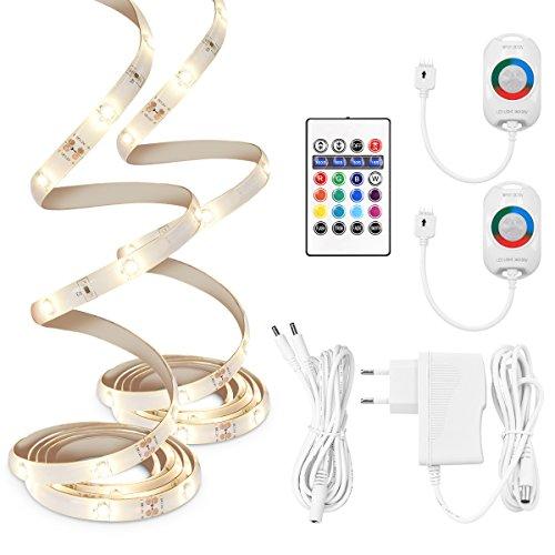 kwmobile 2x Striscia LED RGB con sensore movimento - Strisce luminose 1,5m con telecomando Timer e Dimmer - Set 2 nastri luci autoadesive colorate