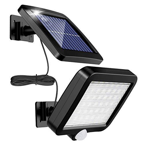 Lampade solari per esterni, MPJ 56 LED, lampada solare per esterni, con sensore di movimento, IP65, impermeabile, angolo di illuminazione di 120°, lampada solare da parete per giardino con cavo