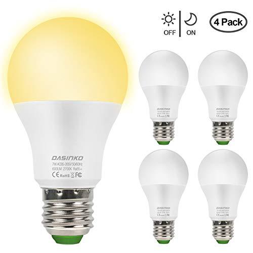 Lampadina Con Sensore, 7W E27 Lampadina LED con Sensore Crepuscolare Luce Notturna con Automatico Interno/esterno Bianco Caldo 2700k Illuminazionea per veranda, corridoio, patio