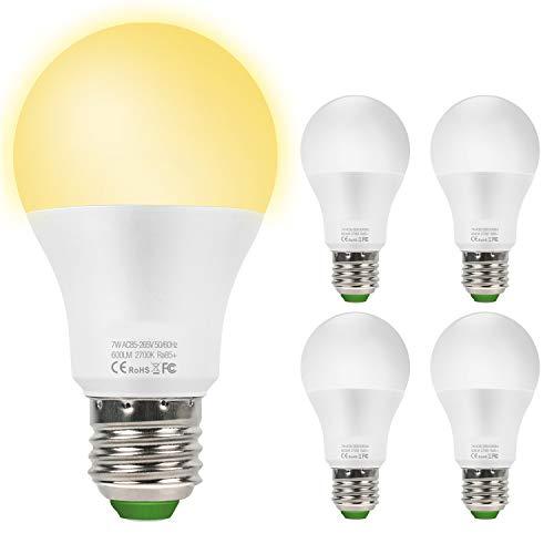 Lampadina Con Sensore, 7W E27 Lampadina LED con Sensore Crepuscolare Luce Notturna con Automatico Interno/esterno Bianco Caldo 2700k, confezione da 4