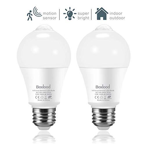 Lampadina del Sensore, 12W PIR Sensore Movimento LED, 3000K Bianco Caldo, Porta d'ingresso Luce di sicurezza per Garage, Seminterrato, Scale, Corridoio (2 Pezzis)