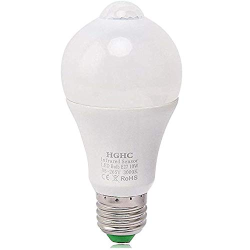 Lampadina Sensore di Movimento, 10W E27 3000K Smart PIR LED Lampadina Auto On/Off Luce Notturna, Esterno/Interno per Porta d'ingresso, Corridoio, Scale, Garage, Patio