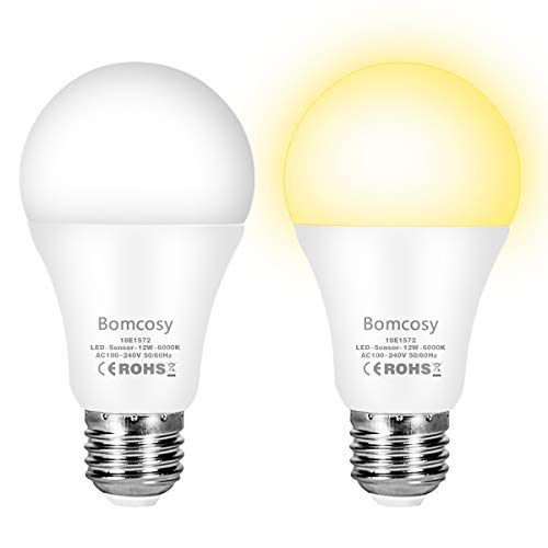 Lampadine con Sensore Crepuscolare E27 Lampadina LED Sensore di Luce 12W Equivalente a 100W Bianca Fredda 6000K Auto On/Off per Corridoio Portico Garage 2 pezzis