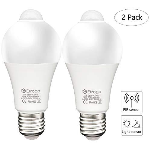 Lampadine Sensore di Movimento, E27 Sensore Crepusculare LED 10W Luce di Bianco Freddo 6000K Equivalenti a 100Watt 806Lm Auto ON/OFF 2 Pezzis