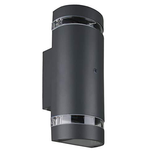 LASIDE Applique da Parete Esterno con Sensore Crepuscolare, GU10 Antracite Grigio Alluminio Up Down Lampada da Parete Esterni, IP44 Impermeabile Luce Lampade da Esterno per Garage, Veranda, Giardino