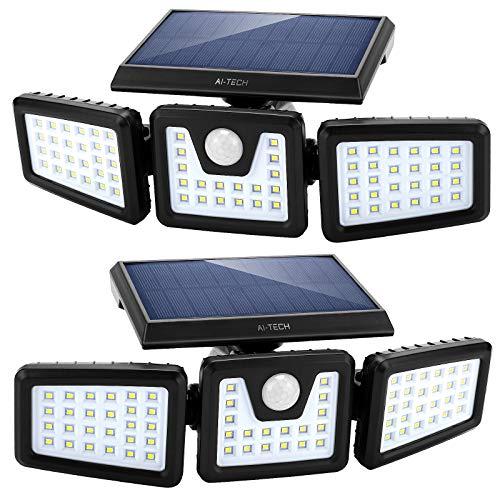 LED Faro Led Esterno Con Pannello Solare Sensore Di Movimento,AI-TECH Faretto LED Da Esterno Lampade Solari Da Giardino,Luci Da Esterno Lampione 3 teste,270ºIlluminazione IP65 Impermeabile -2 Pezzi