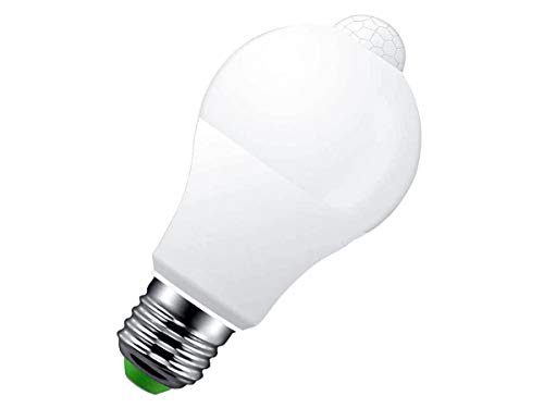 LEDLUX Lampada Led E27 Con Sensore di Movimento Infrarossi 9W 720 Lumen Forma Bulbo A60 Bianco Freddo 6500K