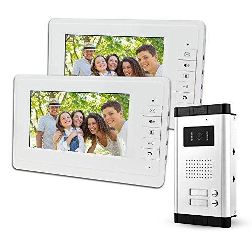 """LIBO 7""""Sistema Videocitofonico Cablato 2 Monitor Due Pulsanti Chiamata con Visione Notturna, Can Control 2 Alloggiato per multi Appartamento/Famiglie"""