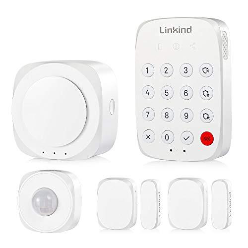 Linkind Set sistema di allarme Smart, telefono cellulare Zigbee (app) controllabile, 1x rilevatore di movimento, 2x sensori porta / finestra, sistema di allarme completo, sistema di sicurezza