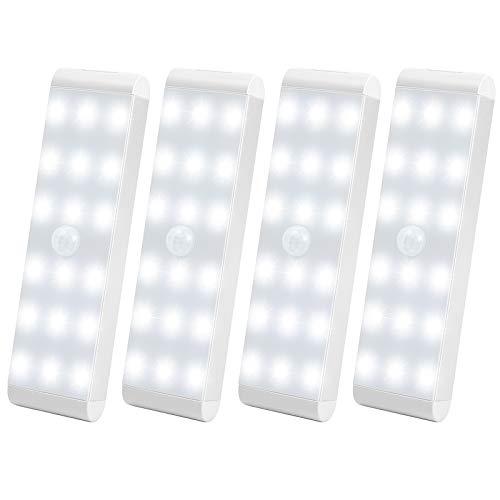 Luce con sensore a 18 LED, ricaricabile con sensore di movimento, intelligente LED da cucina, luce morbida per cucina, armadio, bagagliaio, scale, diversi spazi (4 pezzi)