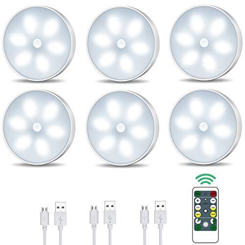 Luce notturna a LED con sensore di movimento, illuminazione a LED per armadio con telecomando USB ricaricabile con modalità auto/on/off illuminazione intelligente per interni (6 pezzi)