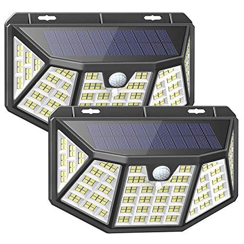 Luce Solare Esterno,212LED Faretto solare ,3 Modalità Luci,IP65 Impermeabile,LED Luci Solari Esterno con Sensore di Movimento,270° Cinque lati Illuminazione wireless Lampada Solare per Giardino