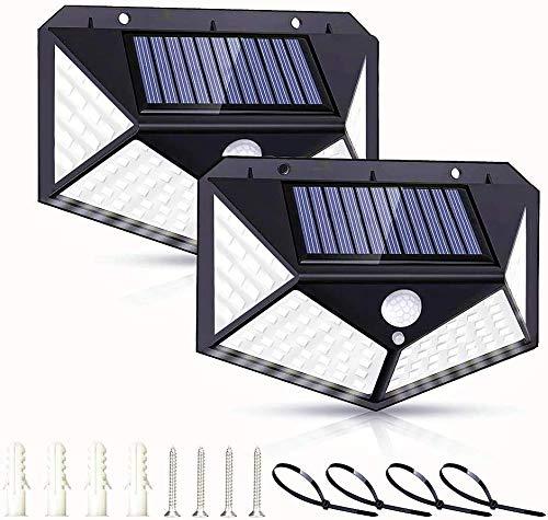 Luce Solare led Esterno 2 Pezzi 2200mAh【super luminoso】Lampade Solari Sensore di Movimento 270° Illuminazione Luci Esterno 3 Modalità Lampada Solare Impermeabile